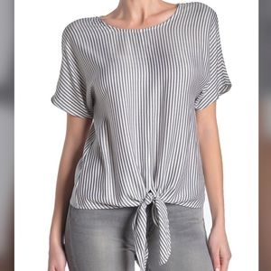 NWT Madewell Button-Back Tie Tee in Classon Stripe